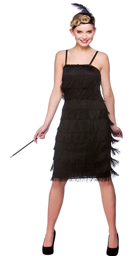 Jazzy 20s Flapper Plus Size Costume Black Ef2150